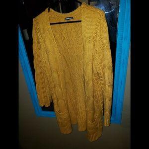 Mustard sweater cardigan